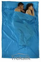TREKSILK AQUA BLUE Double Silk Liner Sack Sleeping Bag Liner Hostel Travel Sheet