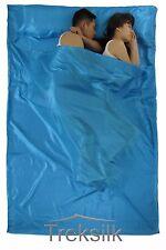 TREKSILK AQUA BLUE Double Silk Liner Sack Sleeping Bag Liner Hostel Travel Sheet