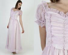 Vintage 70s Gunne Sax Dress Violet Sheer Chiffon Romantic Fairytale Prom Maxi