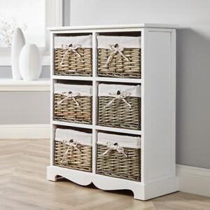 White Wooden 6 Drawer Chest Storage Unit Willow Wicker Baskets Organiser Hallway