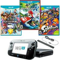 Nintendo Wii U Console 32GB Bundle Set Super Smash Bros+ Splatoon + Mario Kart 8