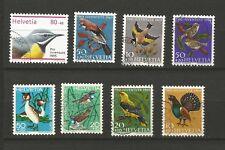 oiseaux 8 timbres oblitérés Suisse /T6051