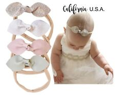 California Tot Rabbit Ears Faux Leather Bow–Stretch Headbands for Baby Toddler D
