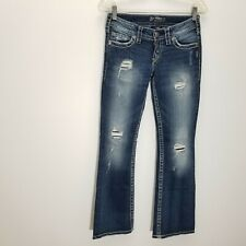 Silver Womens Pioneer Flare Slim Jeans 26 Destroyed Distress Stretch Flap Pocket