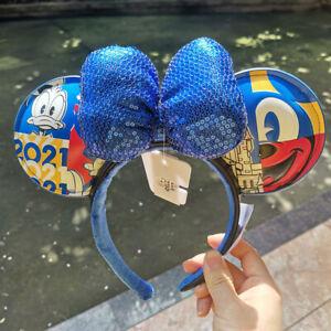 Walt Disney World Parks Mickey Mouse Duck 2021 WDW Ears Headband Leather