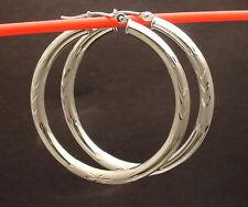 Goldia 14k White Gold Diamond-cut 3mm Round Hoop Earrings