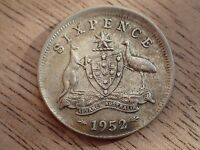 1952  Australian Sixpence Error Off centre 3mm VF     (Lot 794 )
