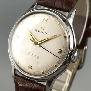 OH serviced, Vintage 1950's SEIKO SUPER 15J  Hand-winding Watch from Japan #557