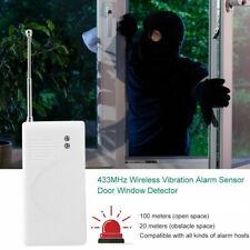 433MHz Wireless Door Window Burglar Alarm Vibration Sensor Alert Home Security
