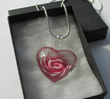 Handmade Gorgeous Pink Lampwork Glass Heart Flower Pendant Chain Necklace