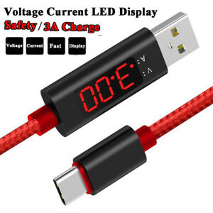 Voltage Current LED Display Type-c USB Sync Charging Cable for Android Samsung