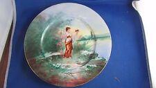 ancienne assiette 19eme limoges porcelaine peinte drcor de femme epoque 1900