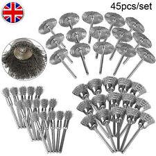 45x Stainless Steel Wire Wheels Pen Brushes Set Accessories Dremels Rotary Tool
