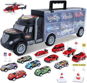HAENPLE Toddler Toys for 3-5 Year Old Boys,Cars Truck Toys Transport Carrier 12