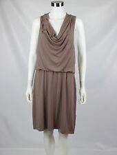 Cynthia Rowley Womens Size XL Taupe Sleeveless Draped Cowl Neck Blouson Dress