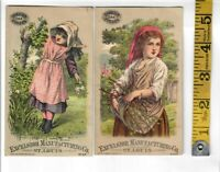 1880s VICTORIAN TRADE CARD LOT OF 2 CHARTER OAK STOVE EXCELSIOR MANUFACTURING