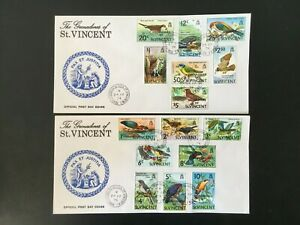 GRENADINES OF ST VINCENT 1974 BIRDS SET ON TWO FDC COVERS