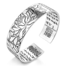 Lotus Buddhist Scriptures 925 Sterling Silver Punk Gothic Open Bangles Gifts