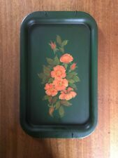 Vintage Large Tole Painting on Metal Tray Green with Pink Flowers