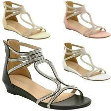 LADIES WEDGE SANDALS WOMENS HEELS STRAPPY SUMMER DRESS PARTY EVENING SHOES SIZE