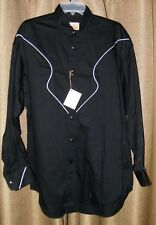 Men's Stubbs Sateen Black Long Sleeve Western Cowboy Shirt White Piping Size L