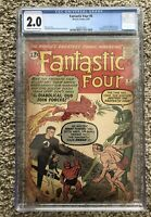 FANTASTIC FOUR #6 CGC 2.0 2nd Dr Doom 2nd Silver Age Sub-Mariner 🔑 Marvel Comic