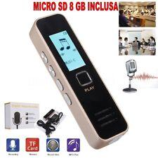 REGISTRATORE VOCALE AUDIO DIGITALE SCHERMO LCD MP3 RECORDER + SD 8 GB INCLUSA