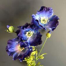 Tallo de 3 Azul Seda De Imitación amapolas, flores silvestres Prado Amapola Artificial