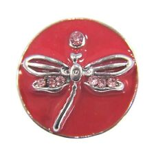 Noosa Style Chunks Snap Button Charms Chunk Charm Snaps Dragonfly Red 18mm