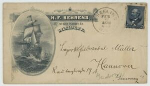 Mr Fancy Cancel 216 ILLUSTRATED AD COVER SHOWING A SHIP WHEELING W VA TO GERMANY