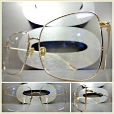 Classic Vintage Retro Style Clear Lens EYE GLASSES Large Square Rose Gold Frame