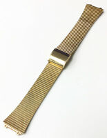 VINTAGE 18MM GOLD TONE METAL WATCH STRAP BAND STAINLESS STEEL SLIDING BUCKLE