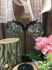 L Vintage Signed Weiss Grey Gray Crystal Rhinestone Clip On Earrings