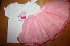 NWT Gymboree Birthday Shop 4T Set Kitty Cupcake Shirt Top Pink Tutu Skirt