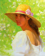 Hand painted Oil painting nice young wearing hat in spring lanscap on canvas