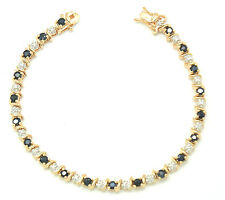 Bracelet Sapphire Diamond 18,5 cm 925 Sterling Silver Gold Plated &