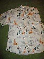 HAWAIIAN LIGHTHOUSE SAILBOAT Short Sleeve Crossings Button Shirt W Pocket M 310