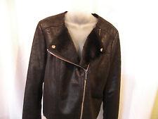 Michael Kors Basics Faux-Fur Full Lined Moto Jacket Black Size L NWT  295.00