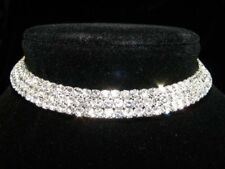 Bridesmaid Prom 3 Rows Simulated Diamond 925 Silver Plated Choker Necklace BN039