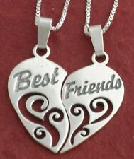 Sterling Silver Best Friends Necklaces incl 2 solid 925 Chains 2 Charm Pendants