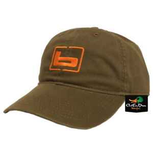 """NEW BANDED GEAR RELAX CAP HAT OLIVE WITH ORANGE  """"b"""" LOGO ADJUSTABLE"""