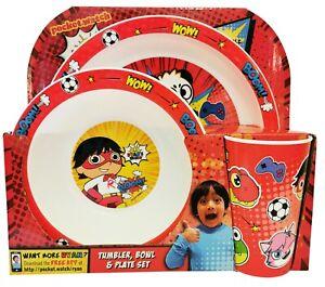 Ryan's World 3 Piece PP Tableware Set Childrens Red Titan, Gus, Combo Panda