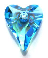 Swarovski Pendentif coeur sauvage 6240, custom enduits glacial Aqua Blue, 27 mm
