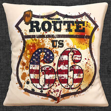 """Route 66 US Shield Cushion Cover 16""""x16"""" 40cm Vintage Retro Old Mottled Finish"""