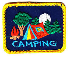 """""""CAMPING"""" - TENT w/TREES & MOON - TRIP - OUTDOORS -Iron On Embroidered Patch"""