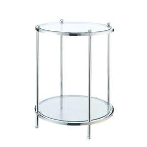 Convenience Concepts Royal Crest 2 Tier Round End Table, Chrome/Glass - 134245