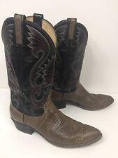 Vintage Dan Post Western Exotic Cowboy Boots Teju Lizard Reptile Men Sz 11 B EUC