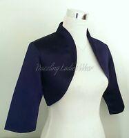 Navy Blue Satin Bolero/Shrug/Cropped Jacket/Stole/Shawl/Wrap/Tippet 3/4 New