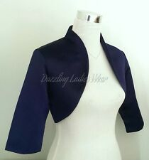 Navy Blue Satin Bolero/Shrug/Cropped Jacket/Stole/Shawl/Wrap/Tippet 3/4 New