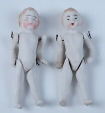 2 Antique German Jointed Bisque Miniature Dollhouse Doll Porcelain House